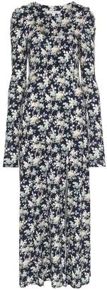 Les Reveries floral print pouf sleeve front slit maxi dress