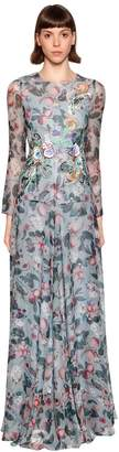 Antonio Marras Floral Printed Silk Crepe De Chine Gown