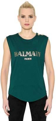 Balmain Laminated Logo Jersey Sleeveless Top