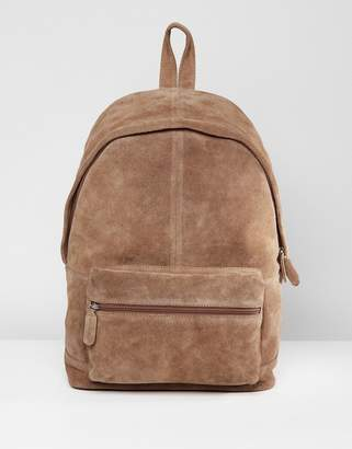 Asos Backpack In Tan Suede