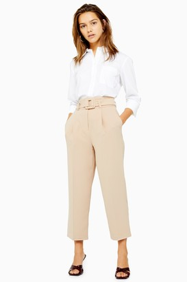 Topshop Womens Petite Stone Buckle Peg Trousers - Stone