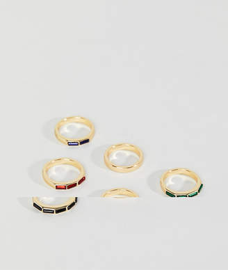 Asos Design DESIGN ditsy ring pack with gem stones in gold tone