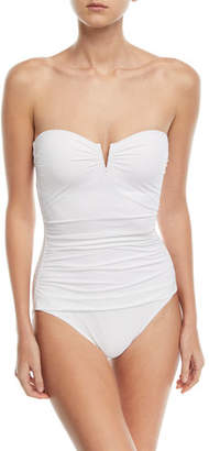 Tommy Bahama Pearl Solids V-Wire Shirred Bandeau One-Piece Swimsuit