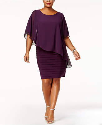 Betsy & Adam Plus Size Chiffon Capelet Sheath Dress
