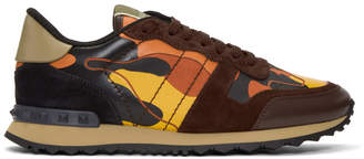 Valentino Orange Garavani Camo Rockrunner Sneakers