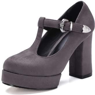 Susanny Block High Heel Pump Women's Mary-Jane T-Strap Round Toe Faux Suede Platform Dress Pumps Shoes 7 B (M) US