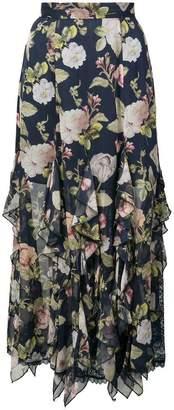 Alice + Olivia Alice+Olivia Uma ruffle floral print skirt