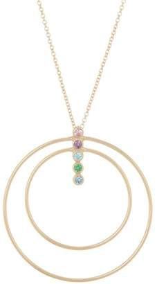 Argentovivo 18K Gold Plated Sterling Silver Rainbow Bar Pendant Necklace