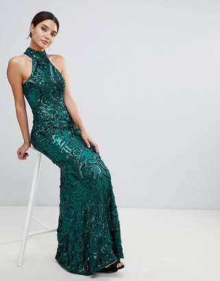 Bariano embellished maxi dress with high neck in emerald green