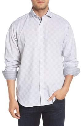 Bugatchi Classic Fit Checkerboard Print Sport Shirt