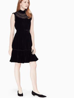 Kate Spade Velvet Lace Trim Dress, Black - Size 10