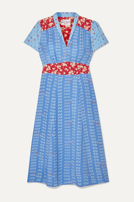 HVN Morgan Printed Silk Crepe De Chine Midi Dress - Blue