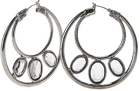 Hollywood Hematite, Large Hoop Earrings