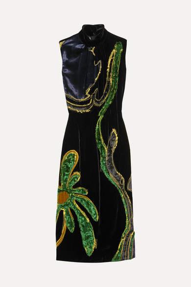 Prada - Appliquéd Paneled Velvet Dress - Navy