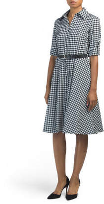Gingham Button Down Dress With Belt