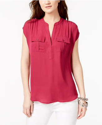 INC International Concepts I.n.c. Petite Mixed-Media Utility Shirt, Created for Macy's