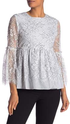 Lumie Floral Lace Striped Bell Sleeve Blouse