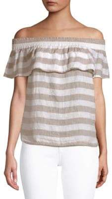 Saks Fifth Avenue Ruffled Off-The-Shoulder Linen Top