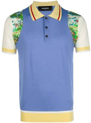 DSQUARED2 colourblock printed polo shirt