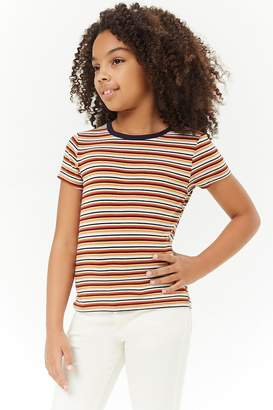 Forever 21 Girls Multicolor Striped Tee (Kids)