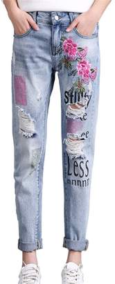 Harajuku Lovers jeanss Women Jeans Embroidered Boyfriend Jeans Women Printed Stretch Pants