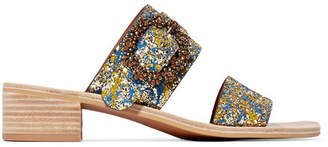 See by Chloe Crystal-embellished Glittered Leather Sandals - Gold
