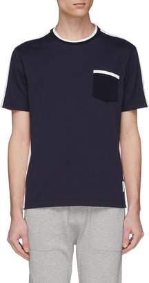 Thom Browne Button outseam colourblock chest pocket T-shirt