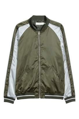 H&M Satin Bomber Jacket - Khaki green/light gray - Men
