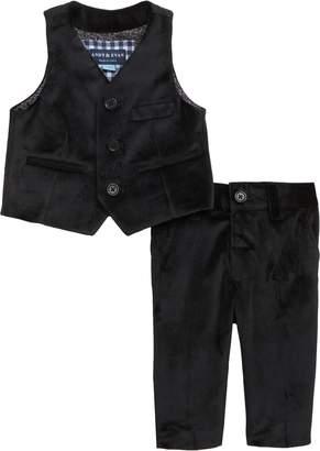 Andy & Evan Velvet Vest & Pants Set