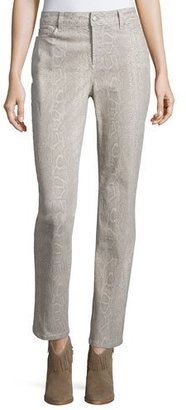 NYDJ Sheri Python-Print Skinny Pants, Stone $150 thestylecure.com