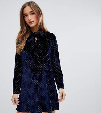 Fashion Union Petite petite tie neck swing dress in heart print velvet