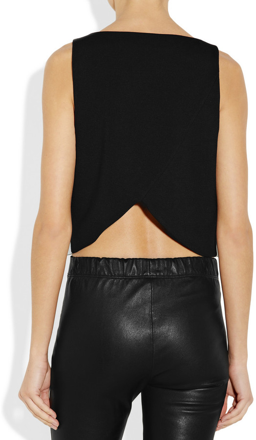 Tibi Cropped leather and ponte top