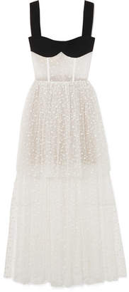 Rasario Tiered Flocked Tulle And Crepe Gown - White