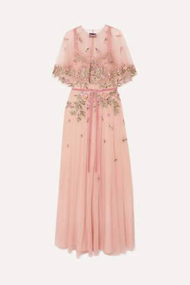 Marchesa Cape-effect Embroidered Embellished Tulle Gown - Blush