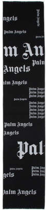 Palm Angels Black and White Ultra Logo Scarf