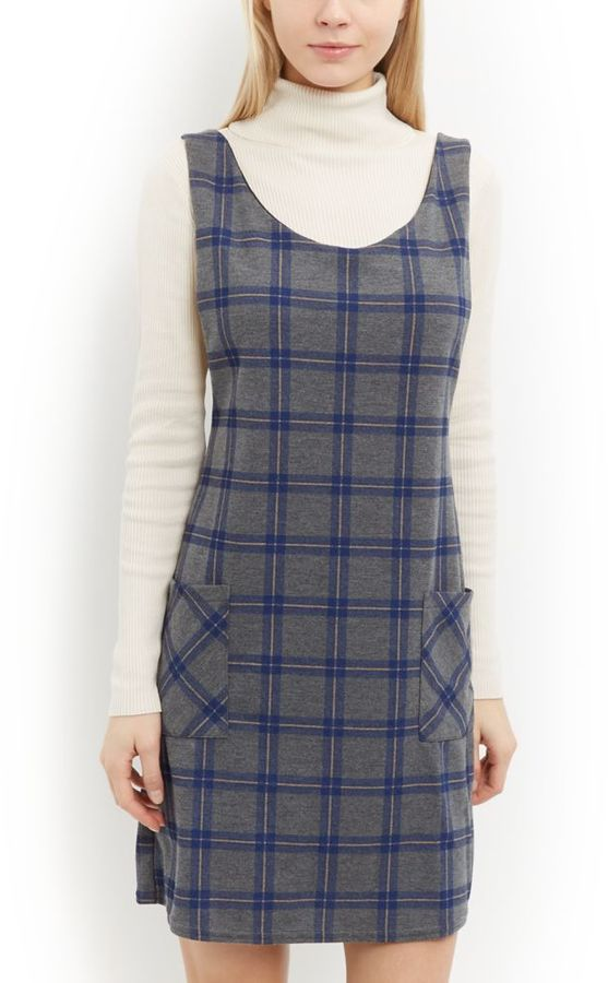 New Look Grey Check Patch Pocket Pinafore Dress ...