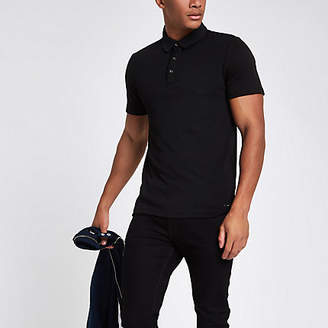 River Island Black slim fit polo shirt