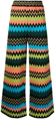 M Missoni zigzag knit wide leg trousers