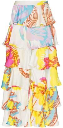 All Things Mochi Perla Tiered Ruffled Maxi Skirt