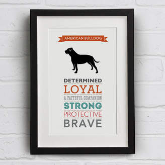 Breed Well Bred Design American Bulldog Dog Traits Print