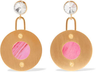Marni Gold-tone, Resin And Crystal Earrings - Pink