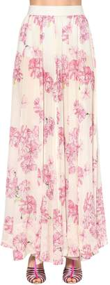 Giambattista Valli Long Floral Print Silk Georgette Skirt