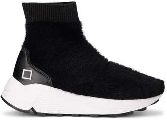D.A.T.E Dafne Fur Black Leather And Eco Fur Sneaker