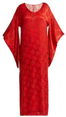 Chufy - Floral Jacquard Kimono Sleeved Dress - Womens - Red