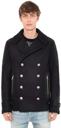 Balmain Double Breasted Wool Peacoat
