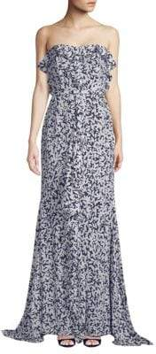 Oscar de la Renta Strapless Silk Gown