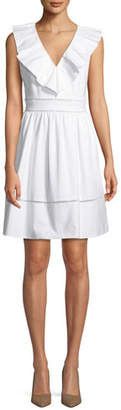 Kate Spade Ruffle-Neck Sleeveless Cotton Dress