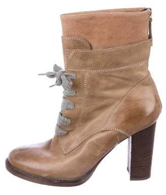 Brunello Cucinelli Lace-Up Leather Ankle Boots
