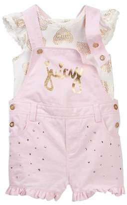 Juicy Couture Heart Foil Print Ruffle Sleeve Top & Shortall Set\n (Baby Girls 12-24M)
