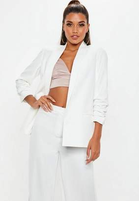 Missguided White Ruched Sleeve Blazer